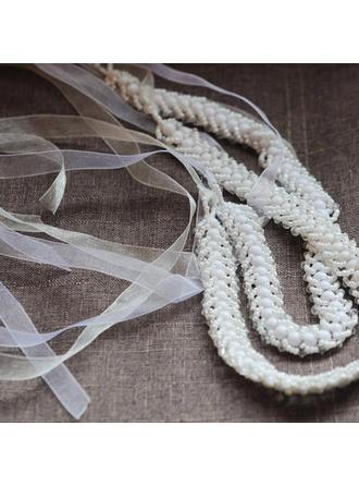 Schöne Satin Schleifenbänder/Stoffgürtel mit Faux-Perlen