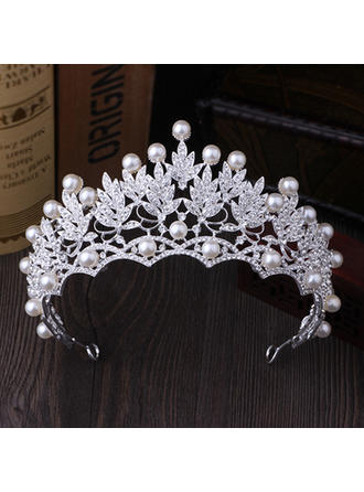 "Tiaras Wedding/Special Occasion/Party Rhinestone/Imitation Pearls 2.76""(Approx.7cm) 5.51""(Approx.14cm) Headpieces"