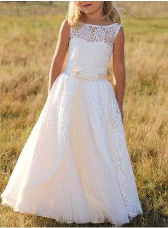 A-Line/Princess Scoop Neck Floor-length With Sash/Bow(s) Lace Flower Girl Dress