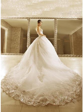 Ball-Gown Strapless Sweetheart Royal Train Wedding Dress With Beading Appliques Lace Sequins