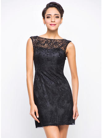 A-Line/Princess Lace Cocktail Dresses Beading Sequins Scoop Neck Sleeveless Short/Mini