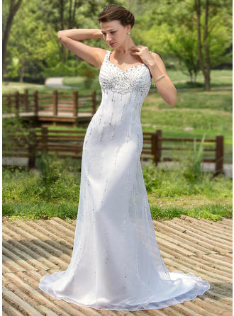 Satin Organza Sleeveless Trumpet/Mermaid With Newest Wedding Dresses