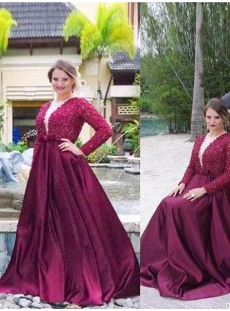 Satin Long Sleeves A-Line/Princess Prom Dresses V-neck Beading Sweep Train