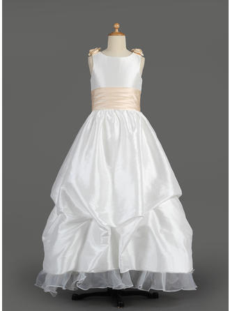 Glamorous A-Line/Princess Sash/Flower(s)/Bow(s)/Pick Up Skirt Sleeveless Taffeta/Organza Flower Girl Dresses