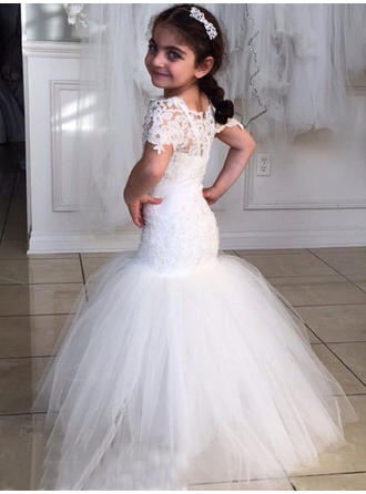 Delicate Floor-length Trumpet/Mermaid Flower Girl Dresses Scoop Neck Tulle/Lace Short Sleeves