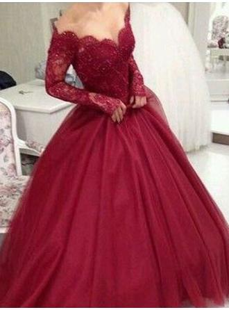 Delicate Tulle Evening Dresses Ball-Gown Floor-Length V-neck Long Sleeves