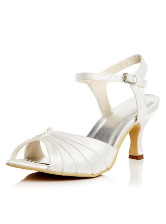 Women's Pumps Sandals Spool Heel Satin With Buckle Wedding Shoes