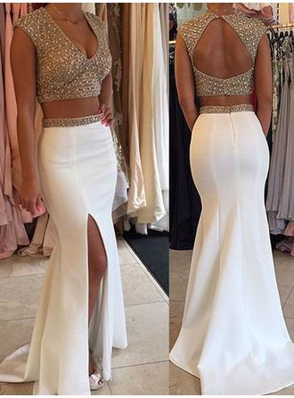 2019 New Prom Dresses Trumpet/Mermaid Sweep Train Detachable V-neck Sleeveless