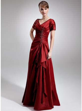 A-Linie/Princess-Linie V-Ausschnitt Taft Kurze Ärmel Bodenlang Perlstickerei Pailletten Gestufte Rüschen Kleider für die Brautmutter (008006337)