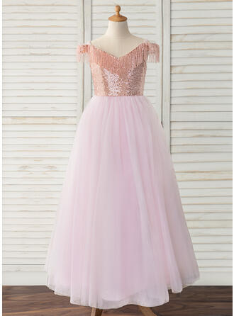Ball-Gown/Princess Floor-length Flower Girl Dress - Tulle/Sequined Sleeveless Off-the-Shoulder With Beading