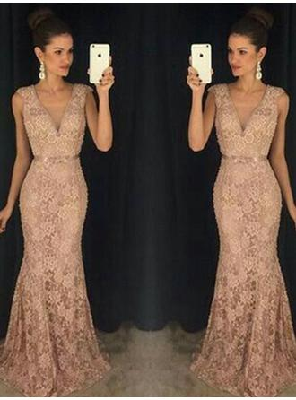 Trumpet/Mermaid Lace Prom Dresses Flattering Sweep Train V-neck Sleeveless