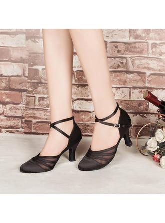 Women's Ballroom Heels Pumps Satin Dance Shoes