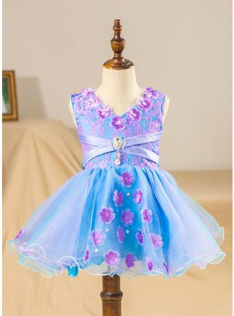 Ball Gown Knee-length Flower Girl Dress - Tulle/Lace Sleeveless V-neck With Beading/Flower(s)/Bow(s)