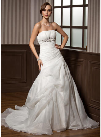 Stunning Chapel Train Strapless A-Line/Princess Satin Organza Wedding Dresses