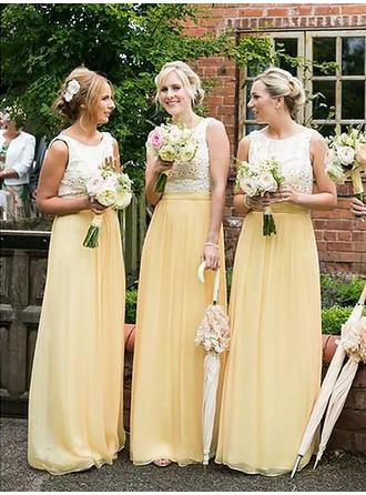 A-Line/Princess Chiffon Bridesmaid Dresses Lace Scoop Neck Sleeveless Floor-Length (007218554)