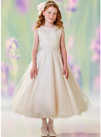 A-Line/Princess Scoop Neck Tea-length With Lace/Sequins Satin/Tulle Flower Girl Dress