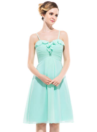 Chiffon Sleeveless Empire Bridesmaid Dresses Sweetheart Cascading Ruffles Knee-Length