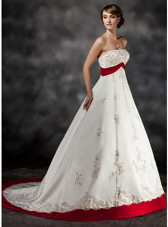 Sweetheart Ball-Gown Wedding Dresses Satin Sash Beading Appliques Sleeveless Court Train