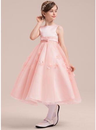 A-Line/Princess Scoop Neck Tea-length With Beading/Appliques/Bow(s) Satin/Tulle Flower Girl Dress