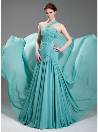 A-Line/Princess One-Shoulder Chiffon Sleeveless Court Train Ruffle Beading Appliques Lace Evening Dresses