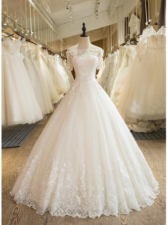 Ball-Gown Off-The-Shoulder Floor-Length Wedding Dress With Sash Appliques Lace (002147940)