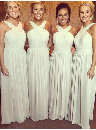 A-Line/Princess Chiffon Bridesmaid Dresses Ruffle V-neck Sleeveless Floor-Length