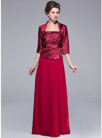 Sheath/Column Sweetheart Floor-Length Chiffon Charmeuse Mother of the Bride Dress With Ruffle Beading