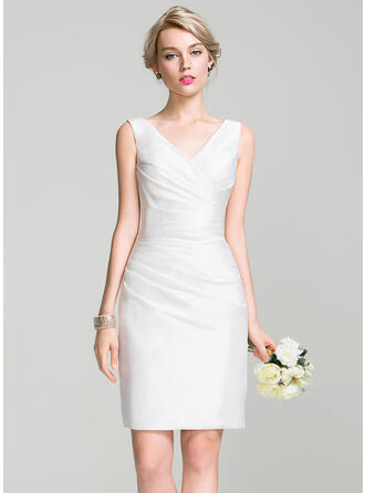 Sheath/Column V-neck Knee-Length Taffeta Bridesmaid Dress With Ruffle