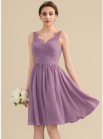 A-Line/Princess V-neck Knee-Length Chiffon Lace Bridesmaid Dress With Ruffle