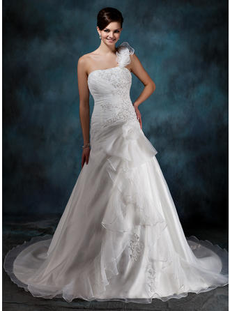 A-Line/Princess Court Train Wedding Dress With Beading Appliques Lace Flower(s) Cascading Ruffles