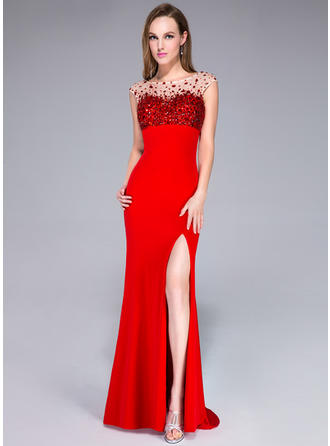 Trumpet/Mermaid Jersey Prom Dresses Beading Sequins Split Front Scoop Neck Sleeveless Sweep Train