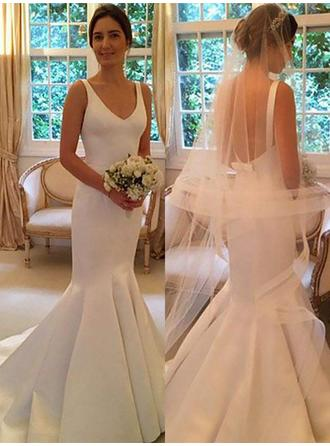 Trumpet/Mermaid V-neck Sweep Train Wedding Dress With Bow(s)