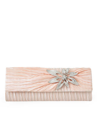 Clutches/Wristlets Wedding/Ceremony & Party Satin/Crystal/ Rhinestone Magnetic Closure Elegant Clutches & Evening Bags