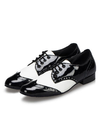 Men's Latin Ballroom Swing Practice Character Shoes Pumps Sneakers Leatherette With Lace-up Dance Shoes