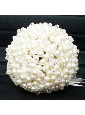 "Bridal Bouquets Round Wedding Satin/Crystal 9.06""(Approx.23cm) Wedding Flowers"