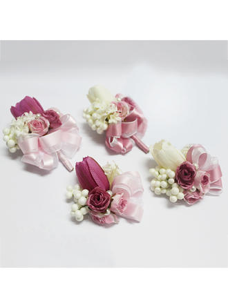 "Flower Sets Wedding/Party Artificial Silk/Imitation Pearl 3.54"" (Approx.9cm) Sold in set of two which includes one wrist corsage and one boutonniere Wedding Flowers"