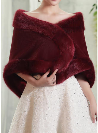 Wrap Fashion Artificial Wool Burgundy Wraps (013146875)