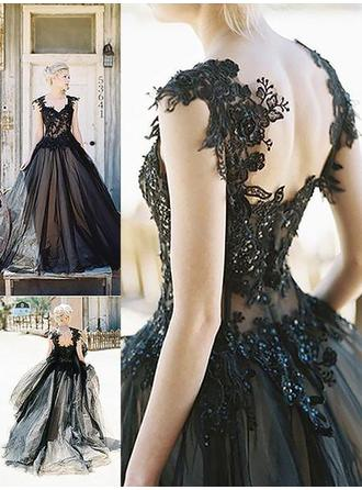 Simple Tulle Prom Dresses Ball-Gown Sweep Train Sweetheart Sleeveless