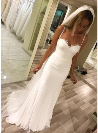 Sweetheart Sheath/Column Wedding Dresses Charmeuse Lace Sleeveless Sweep Train (002146941)