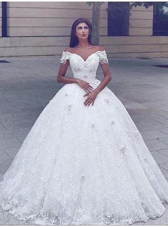 Lace Ball-Gown Chapel Train Off-The-Shoulder Wedding Dresses Short Sleeves