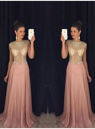 A-Line/Princess Scoop Neck Floor-Length Prom Dresses With Beading Appliques Lace