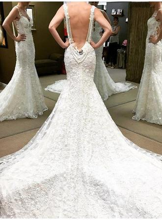 Delicate Chapel Train Trumpet/Mermaid Wedding Dresses Sweetheart Lace Sleeveless