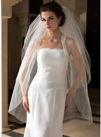 Fingertip Bridal Veils Tulle Three-tier Classic With Cut Edge Wedding Veils