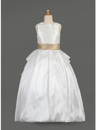Ball Gown Scoop Neck Floor-length With Sash/Beading/Bow(s) Taffeta/Lace Flower Girl Dress