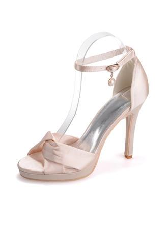 Kvinnor Satäng Stilettklack Peep Toe Plattform Sandaler med  ...