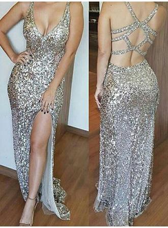 Sheath/Column Sequined Sexy Floor-Length V-neck Sleeveless
