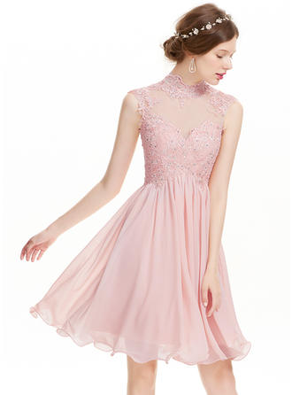A-Line/Princess High Neck Knee-Length Chiffon Prom Dresses With Beading