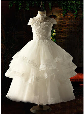 Ball Gown Ankle-length Flower Girl Dress - Organza/Satin/Tulle Sleeveless Stand Collar With Appliques