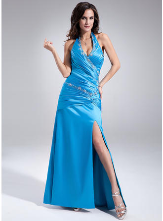 Sleeveless A-Line/Princess Prom Dresses Halter Ruffle Beading Split Front Floor-Length