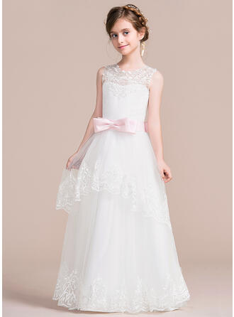 Ball Gown Floor-length Flower Girl Dress - Satin/Tulle Sleeveless Scoop Neck With Sash/Appliques/Bow(s)/V Back